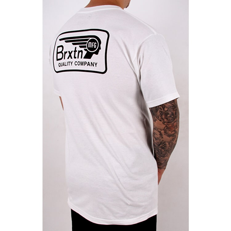 Brixton Messenger T Shirt - White/Black