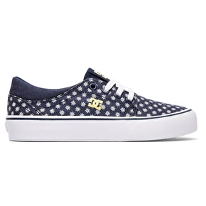DC Trase TX SE Kids Skate Shoes - Navy/Yellow