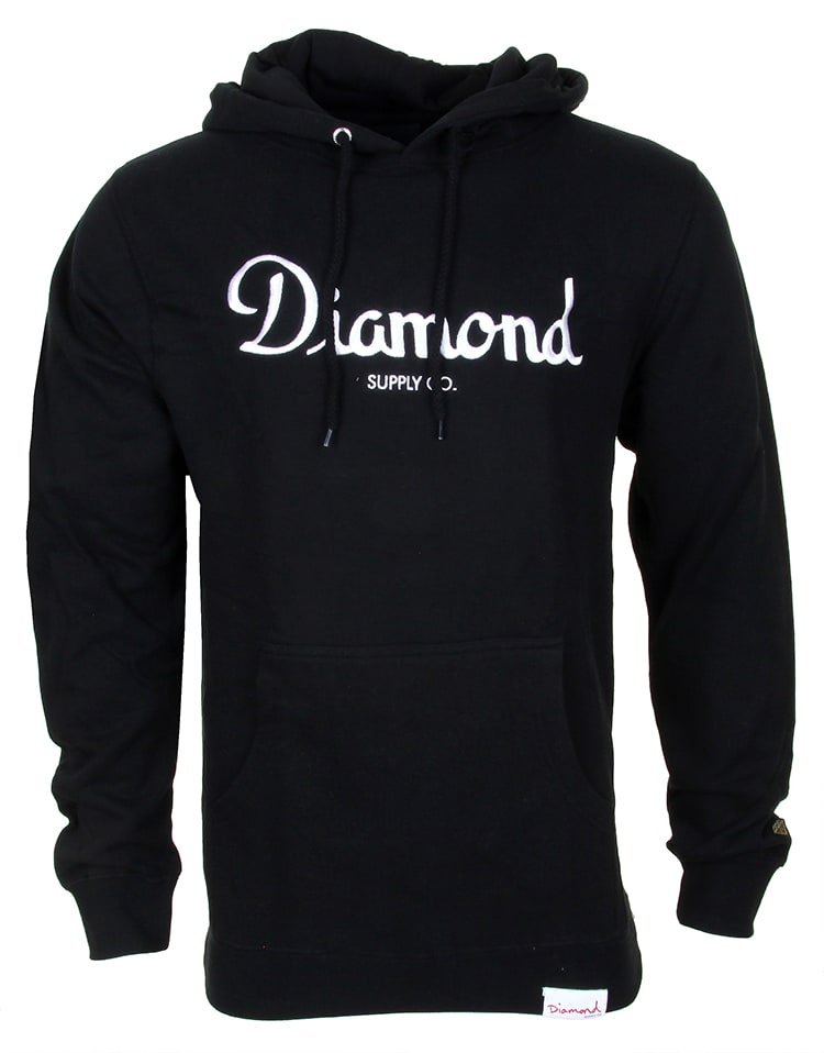 Image of Diamond Champagne Embroidery Hoodie - Black