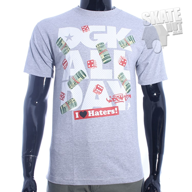 DGK Head Cracks T-Shirt - Grey Heather - Small - Chest 37`-39`