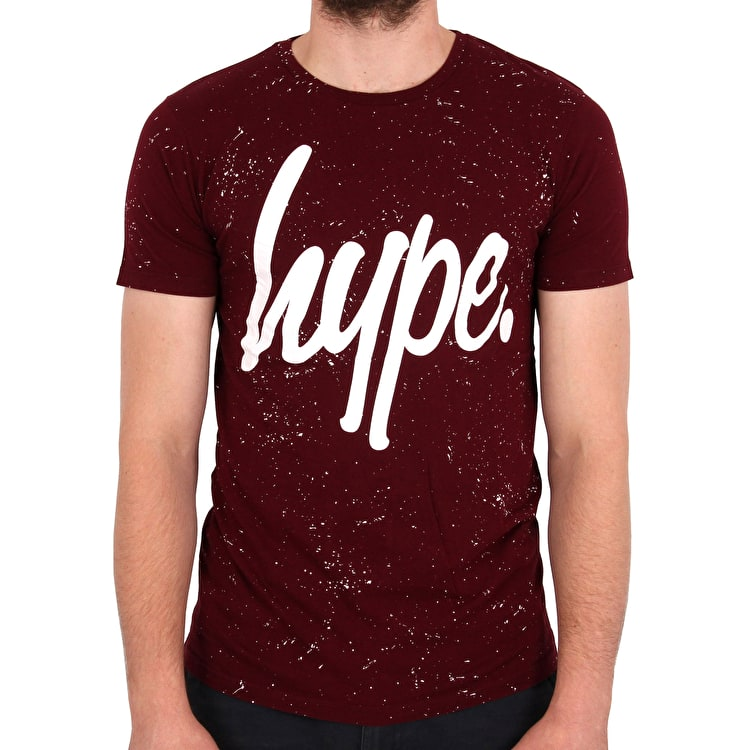 Hype AOP Speckle T-Shirt - Burgundy/White