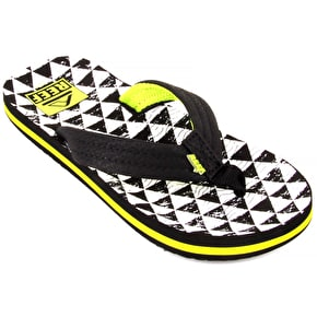 Reef Kids' Ahi Flip Flops - Black/White Stacked