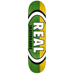 Real Skateboard Deck - Two Tone Oval Green/Yellow 8.25