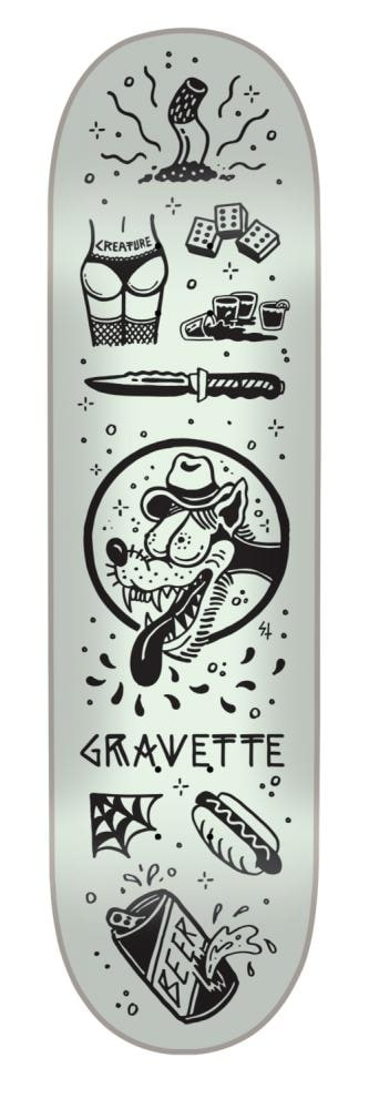 Image of Creature Tanked Gravette Skateboard Deck - Glow In The Dark 8.2""