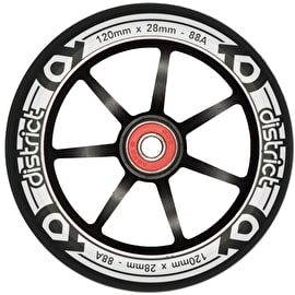 District LP 28mm Wide 120mm Alloy Core Scooter Wheel - Black/Black
