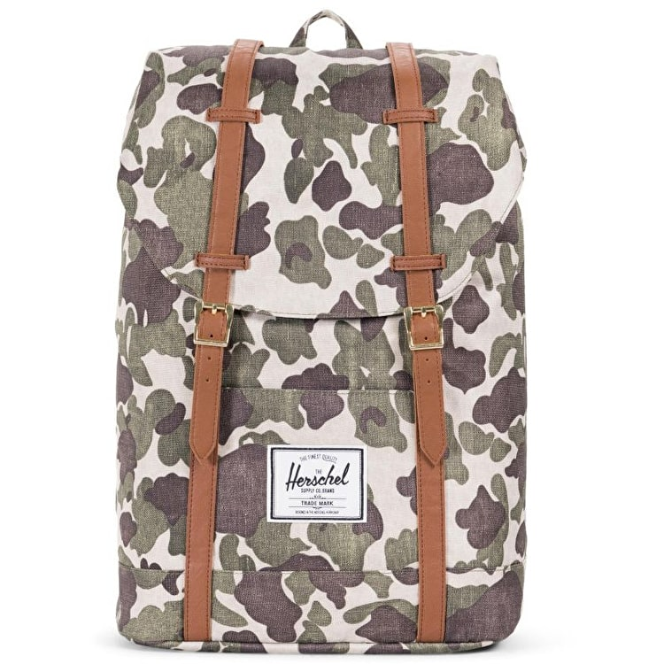 Herschel Retreat Backpack - Frog Camo/Tan Synthetic Leather
