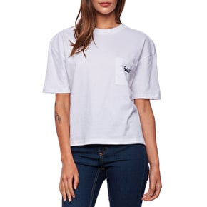 Rebel8 Lakeview Embroidered Womens Pocket T-Shirt - White