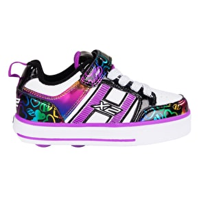 Heelys X2 Bolt Plus - White/Black/Rainbow Hearts