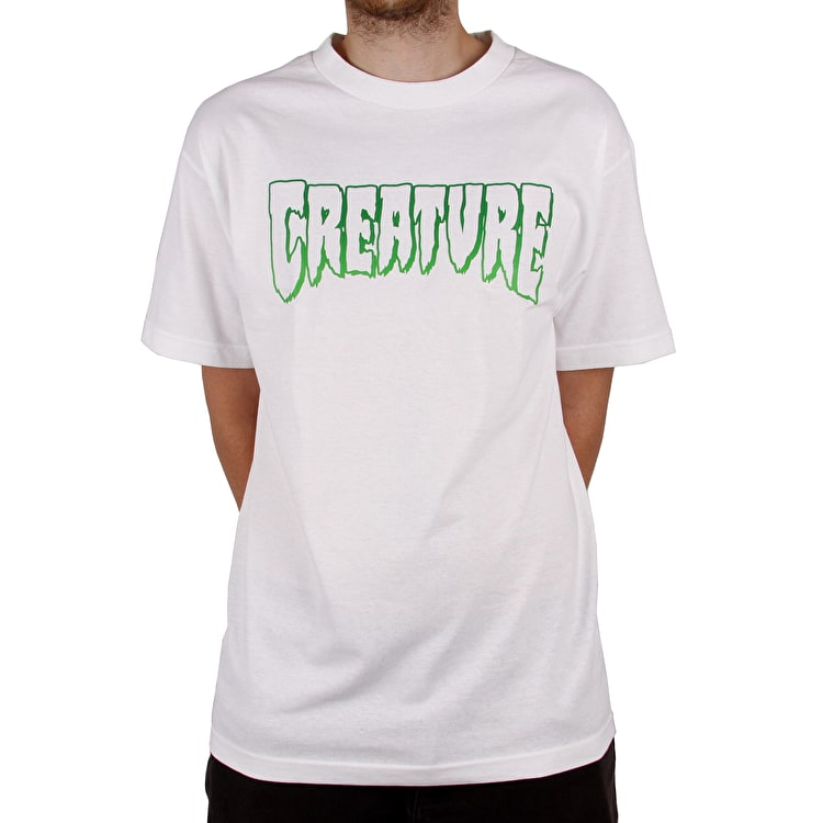 Creature Logo Outline T Shirt - White