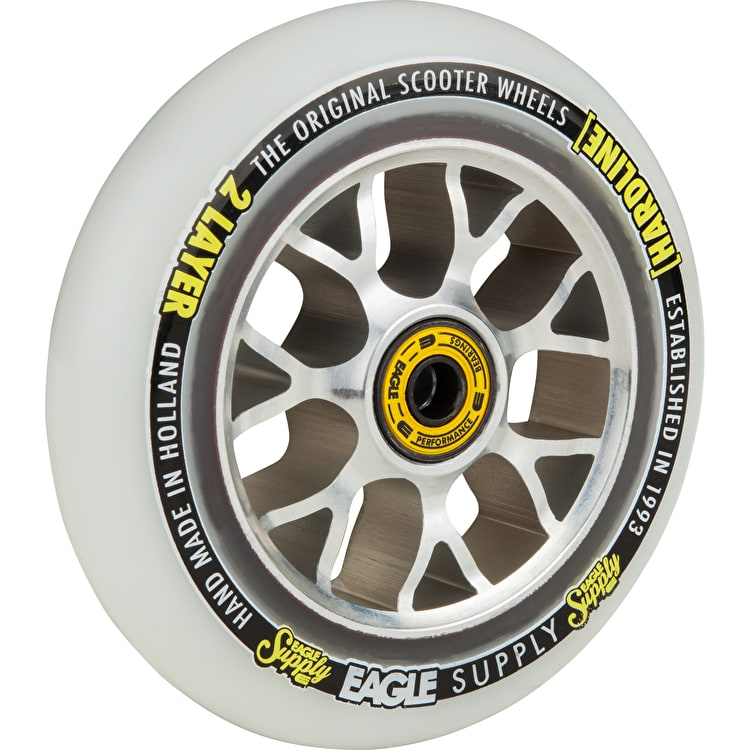 Eagle Sport Hardline 2-Layer X6 Snowballs Scooter Wheel - White/Silver 115mm