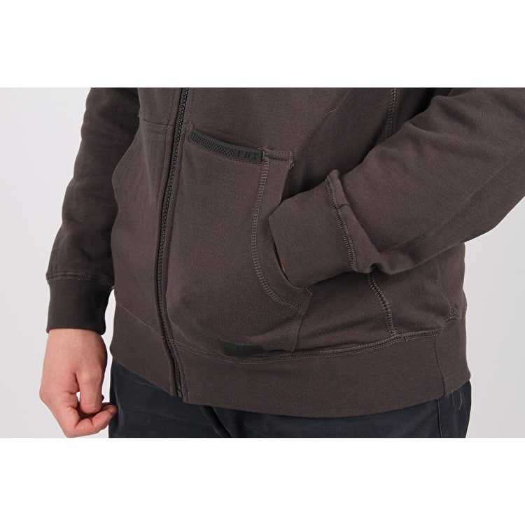 Fox Rhodes Zip Fleece Hoodie - Black Vintage