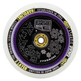 Eagle Sport Hardline 2-Layer HollowTech Snowballs Scooter Wheel - White/Black 115mm