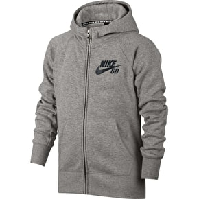 Nike SB Icon Kids Zip Hoodie - Dark Grey Heather/Antracite/Black