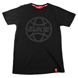 Zukie Globe Tonal Logo Kids T Shirt - Black