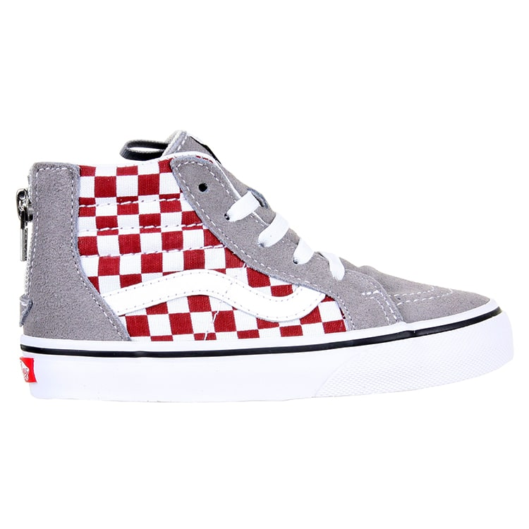 Vans Sk8-Hi Zip Toddler Shoes - (Checkerboard) Frost Grey/Rhubarb