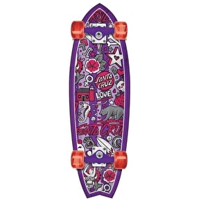 Santa Cruz Land Shark Doodle Shark Complete Cruiser - Purple 33