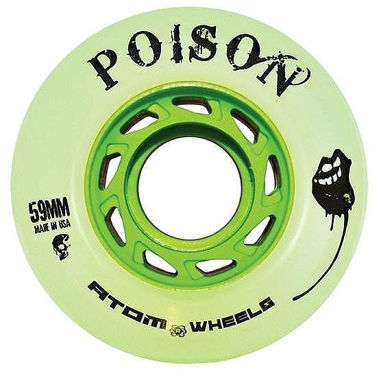 Image of Atom Quad Derby Poison Slim 59mm Wheels 84A (4pk) - Natural Green