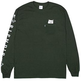 RIPNDIP Lord Nermal Long Sleeve T Shirt - Hunter Green