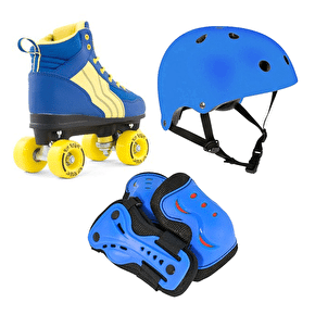 Rio Roller Pure Quad Roller Skates Bundle-Blue