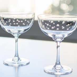 Set Of Six Star Cut Glass Champagne Coupe Saucers