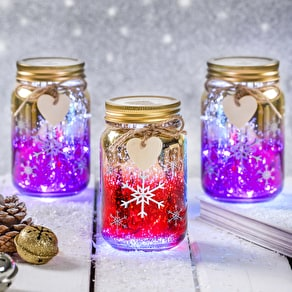 Christmas Snowflake LED Ombre Jar