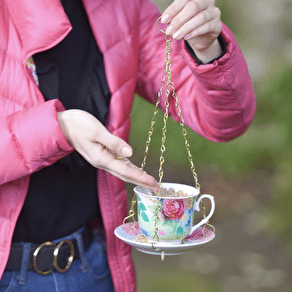 Ceramic Hanging Teacup Bird Feeder
