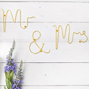 Gold Wire 'Mr And Mrs' Words