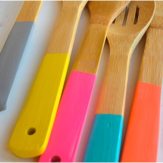 Neon Dip Wooden Utensils