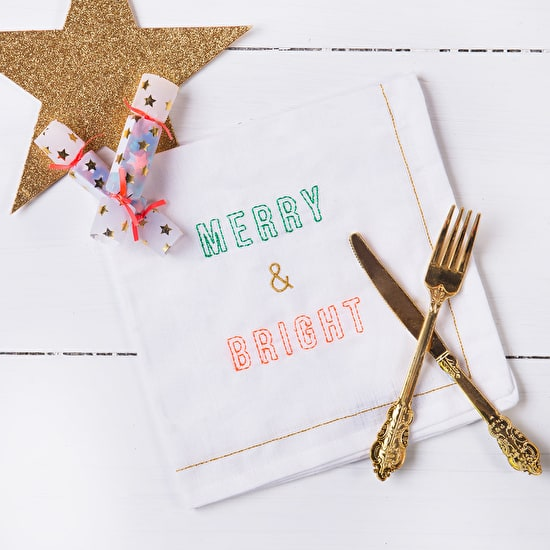 Christmas Linen Napkin With Embroidery