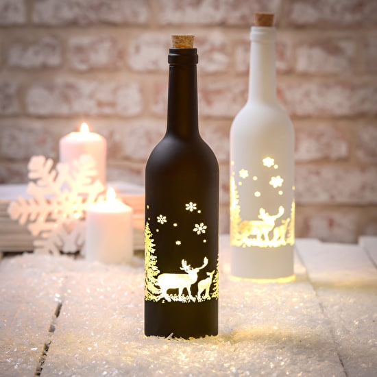 Light Up LED Christmas Scene Bottles