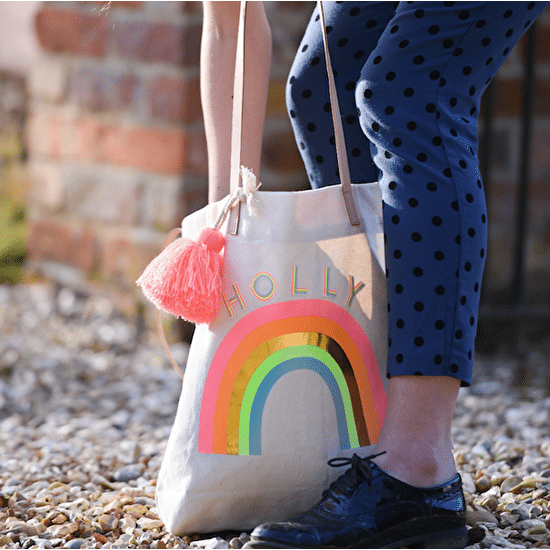 Rainbow Print Canvas Tote Bag With Tassle