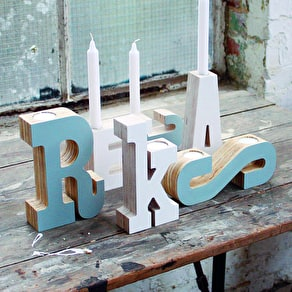 Birch Wooden Alphabet Candlestick