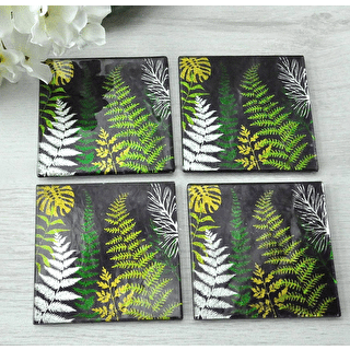 A Set of Glass Black Botanical Coasters