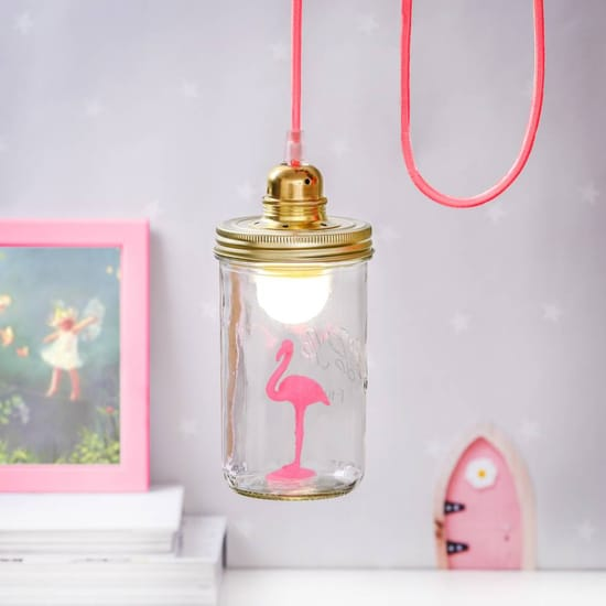 Neon Flamingo In A Jar Lamp