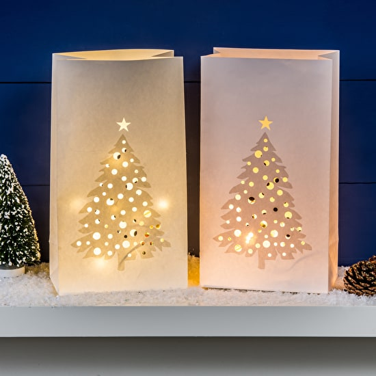 Paper Cut Christmas Tree Lanterns