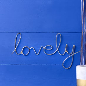 Gold Script Wire 'Lovely' Word