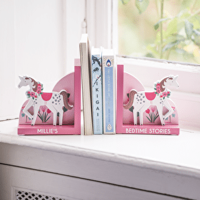 Personalised Wooden Unicorn Bookends