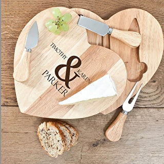 Personalised Heart Shaped Wooden Cheese Board