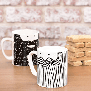 A Set Of Two Beardy Men Mugs