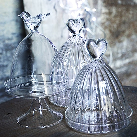 Bird And Heart Glass Dome