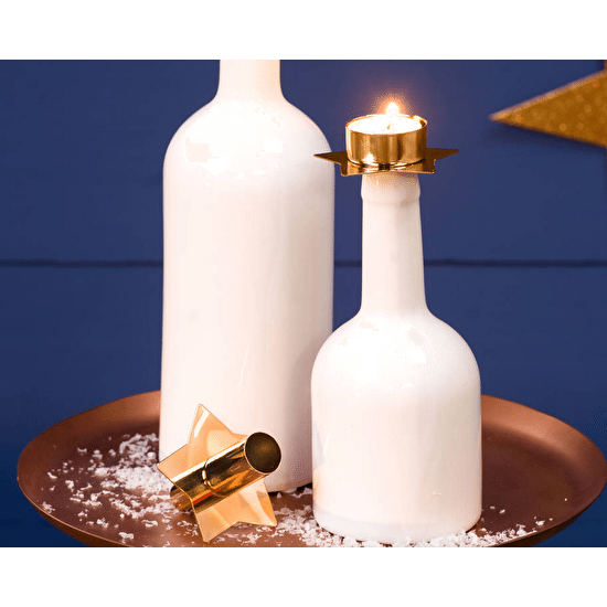 Ceramic Bottle Holder With Christmas Candles