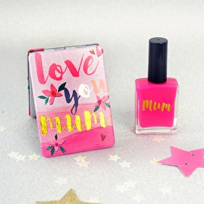Love you Mum Mirror With Personalised Nail Varnish