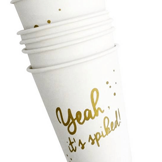 Set Of 12 Gold Typographic Fun Paper Cups