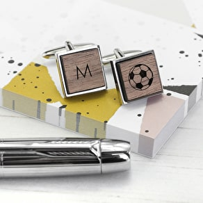 Personalised Iconic Pursuits Walnut Cufflinks