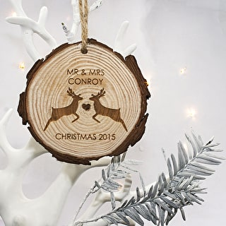'Mr And Mrs' Reindeer Wooden Decoration