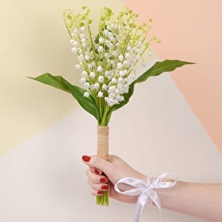 Faux Lilies With Personalised Ribbon
