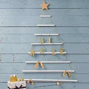 White Wooden Hanging Christmas Tree With Gold Star