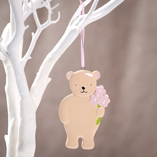 Personalised Bear With Bouquet Hanging Decoration