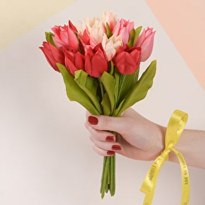 Faux Tulips with Personalised Ribbon