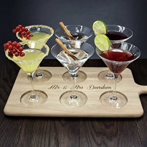 Set Of Cocktail Glasses And Personalised Paddle Board